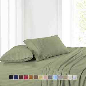 Attached Waterbed Sheet Set Luxury 100% Cotton Sateen Stripe Wrinkle Free 300 TC