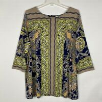 Bob Mackie Wearable Art Tunic 2X Plus Pullover 3/4 Sleeve Paisley Lounge Top
