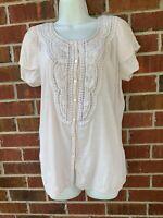 Spense Gauze Blouse Medium Babydoll Peasant Top Shirt Boho Embroidered Tunic
