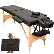 Mobile Massageliege Massagetisch Massagebank 2 Zonen klappbar schwarz + Tasche