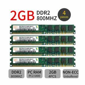 8GB 4x 2GB DDR2 800MHz PC2-6400U DIMM 240Pin 2Rx8 Desktop Memory SDRAM Hynix BT