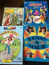 4 Vintage Uncut 60s/70s Paper Dolls - Happiest Millionaire-Archies-Donny &Marie