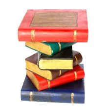 """Painted Book Table 16""""/Lamp Table/Plant Stand/Hand Carved/Solid Wood/Gold Pages"""