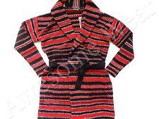 New Lauren by Ralph Lauren Wool Blend Black & Red Belted Long Cardigan Sweater S