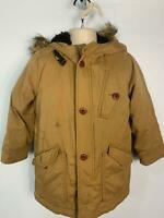 BOYS BABY GAP BROWN CASUAL WINTER PADDED RAIN SCHOOL HOOD COAT KIDS AGE 5 YEARS