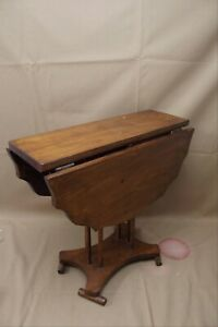 """Antique Folk Art Hand Made Pine Small Drop Leaf End Side Table 16.5"""" Tall"""