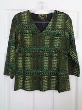 Mirasol Multi Color 3/4 Sleeve Women's Tunic Top Size Small