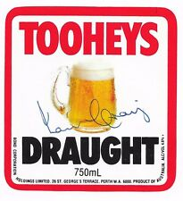 IAN CRAIG - AUSSIE CRICKET GREAT - HAND SIGNED BEER LABEL - TOOHEYS DRAUGHT