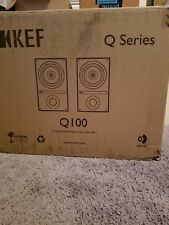 KEF Q100 Bookshelf Audiophile Speakers; Black Oak Pair