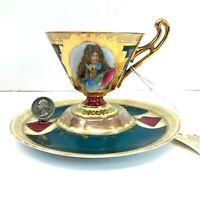 Antique Austria Royal Vienna Portrait CUP & SAUCER austrian teacup