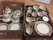 Huge Retro 60s Midwinter Stonehenge Woodland Orange Dinner Tea Set 60 Piece