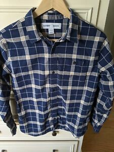 NWOT Boy's Old Navy Blue & White Plaid Button Down Long Sleeve Shirt Size XL