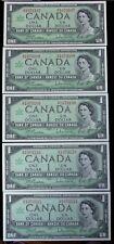 BANK OF CANADA 1967 - 5 CONSECUTIVE $1 BANK NOTES - Prefix H/P - Gordon & Towers