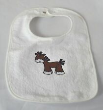 Custom Personalized & Embroidered Sock Horse Pony on White Baby Toddler Bib NEW