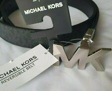Michael Kors Signature Monogram Reversible Black Belt, Silver MK LOGO.S. NEW