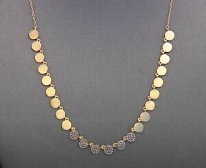 """Rarities Champagne Diamond Disc Drop 18"""" 22k Goldplated Necklace 0.5 ctw NWT"""