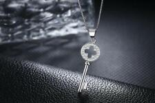Flower 4-Leaf Clover Key 925 Sterling Silver Micro-inlay CZ Pendant Necklace