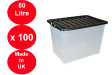 100 x 80 LITRE PLASTIC STORAGE BOX STRONG BOX USEFUL BLACK LID EXTRA LARGE X 100