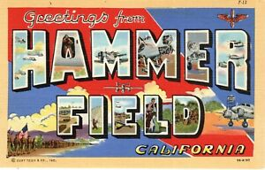 ~1940's FRESNO CA - Large Letter Greetings from Hammer Field