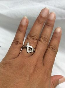 Beautiful Tiffany & Co Paloma Picasso Sterling 925,loving Heart Ring Size 7