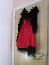 Ladies burlesque red dress with black feather like boa New year party