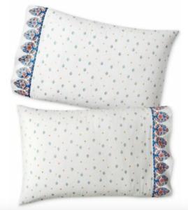 Martha Stewart WHIM -100% Cotton Standard Pillowcase Pair - BORDERLINE PAISLEY
