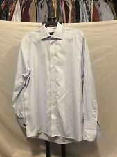 Eton Contemporary Fit Blue White Plaid Button Up French Cuff Dress Shirt 17