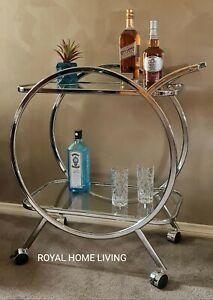 BAR CART DRINKS TEA TROLLEY METAL SILVER GLASS SHELVES WINE WHISKEY STORAGE