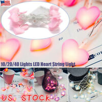 US 10/20/40 LEDs Heart Shape Fairy String Light Battery Wedding Party Xmas Decor