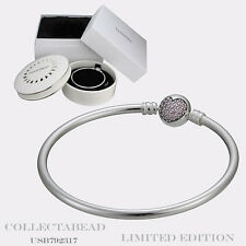 "Authentic Pandora Silver 8.3"" Circle of Love Bangle with Porcelain Box USB792321"