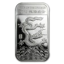 SEALED 2012 Year of The Dragon 1oz Silver Art Bar, Brave, Strong, Honest, Luck