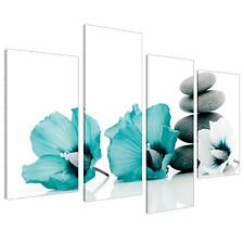 Large Teal Grey and White Lily Floral Canvas Wall Art Pictures - Split Set of 4