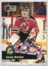 SEAN BURKE 1991 PRO SET NEW JERSEY DEVILS  AUTOGRAPHED HOCKEY CARD JSA
