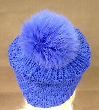 Wintermütze Mütze Strickmütze Bommelmütze mit Pelzbommel Bommel Kanin blau 10