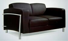 Leder Couch / Designer Lounge Office Couch 2er Verona Leather Bauhaus Stil