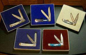 Boker Bone Stag Knives (5) Civil War Limited Edition Sets W/Packaging, Rare Set