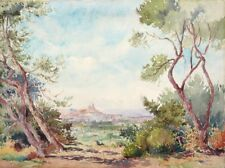 Vintage French Watercolor, Marseille Provence Mediterranean Sea Landscape Signed