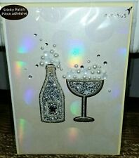 PAPYRUS STICKY PATCH GLASS BEADS PEARLS CHAMPAGNE BUBBLES BLANK INSIDE CARD NWT