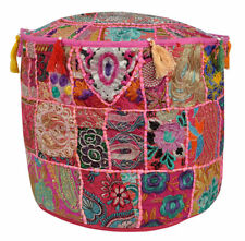 Indian Vintage Fabric Patchwork Ottoman Foot Stool Bean Bag Pouf Cover Decor