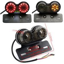 Motorbike Smoke 12V LED Twin Dual Tail Light Brake License Plate Integrated Lamp