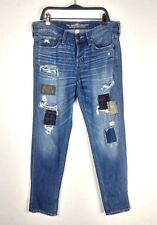 Abercrombie & Fitch Boyfriend Straight Leg Patchwork Distressed Jeans Size 2R