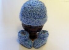 OBE Crocheted 0-3 Months Beanie Hat and Booties Set Shimering Blues Color