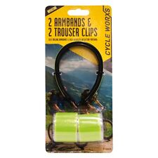 CYCLING REFLECTIVE ARMBANDS TROUSER CLIPS HI-VISIBILITY BAND LEG CLIP SAFETY