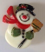 broche  rétro bonhomme de neige vintage résine couleur en relief /105