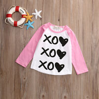 Toddler Kids Baby Girls Boy Summer Casual Long Sleeve Top T-shirt Clothes Blouse