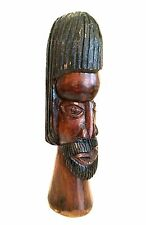 Folk Art Jamaica Sculpture Bust by Oscar Kerr 1974 Handcarved Wood 14 inches
