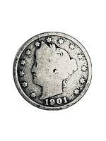 1901 Liberty V Nickel Philadelphia Mint US 5 Cents Coin 5c *2242