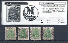 GERMANY  1920  MI# 150 M  PLATE FAULT  DIFFERENT FIELDS  USED  MOST  VF