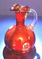 GORGEOUS BURGUNDY HAND BLOWN ART GLASS CARAFE WITH ETCHINGS - ROMANIA - FLAWLESS