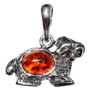 1.62g Aries Authentic Baltic Amber 925 Sterling Silver Pendant Jewelry N-A1692